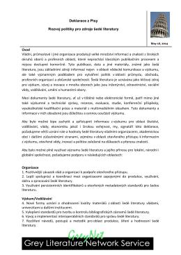 Deklarace z Pisy Rozvoj politiky pro zdroje šedé literatury Úvod