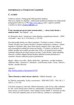 INFORMACE Z ČESKÝCH ČASOPISŮ Č. 11/2015