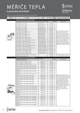 Ceník měřičů tepla ENBRA (platný od 1. 7. 2015)