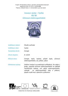 Inovace výuky – Fyzika F8/ 06 Účinnost elektrospotřebiče