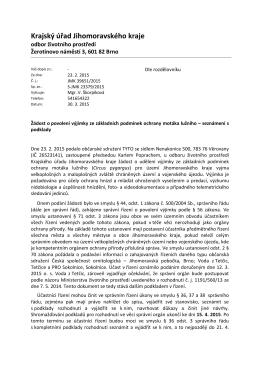 Žádost o povolení výjimky ze základních podmínek