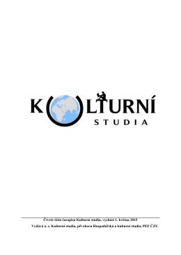 Čtvrté číslo časopisu Kulturní studia, vychází 1. května 2015 Vydává
