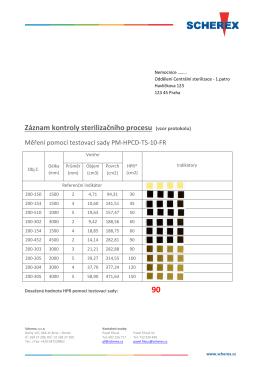 Záznam kontroly sterilizačního procesu (vzor protokolu)
