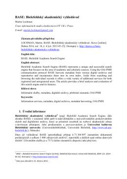 BASE: Bielefeldský akademický vyhledávač - e-Lis