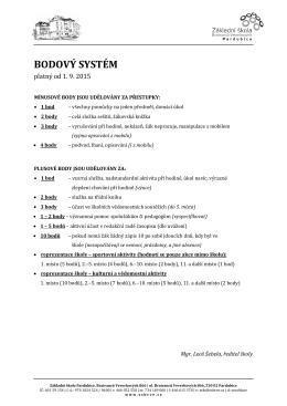 Bodový systém pro hodnocení chování žáků platný od 1. 9. 2015