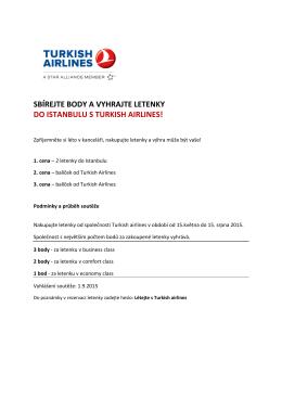 sbírejte body a vyhrajte letenky do istanbulu s turkish airlines!