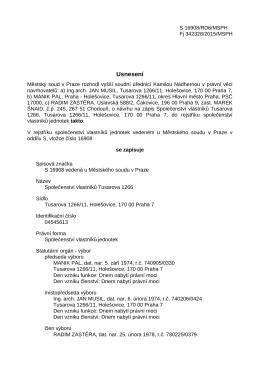 Usnesení Městského soudu