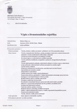 Výpis z živnostenského rejstříku