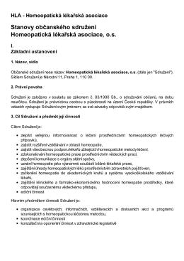 Stanovy občanského sdružení Homeopatická lékařská asociace, o.s.