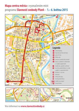 Mapa centra města s vyznačením míst programu Slavností svobody
