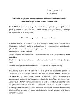 Praha 26. srpna 2015 č. j.: 612/Ř/15 Oznámení o vyhlášení