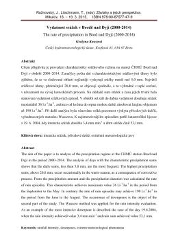 Vydatnost srážek v Brodě nad Dyjí (2000-2014) The rate of