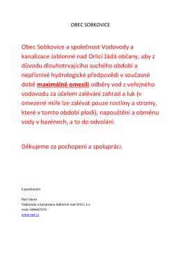 Obec Sobkovice a společnost Vodovody a kanalizace Jablonné nad