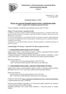 Pokyny pro uznávání předmětů - Farmaceutická fakulta