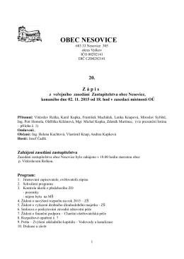 20. zápis z veřejného zasedání Zastupitelstva obce Nesovice