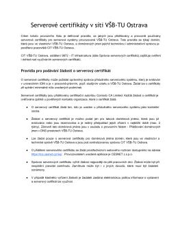 Serverové certifikáty v síti VŠB