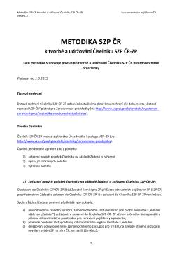 METODIKA SZP ČR - Svaz zdravotních pojišťoven ČR