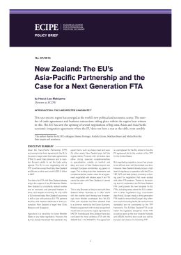 New Zealand: The EU`s Asia-Pacific Partnership and the
