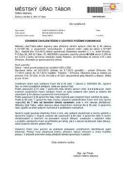oznámení zahájení řízení o uzavírce pozemní komunikace