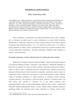 ThDr. Tomáš Butta, ThD.: Reformace a sekularizace