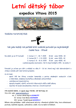 Letní dětský tábor expedice Vltava 2015