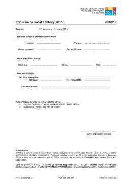 Přihláška na koňské tábory 2015