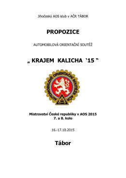 """PROPOZICE """" KRAJEM KALICHA `15 """" Tábor"""
