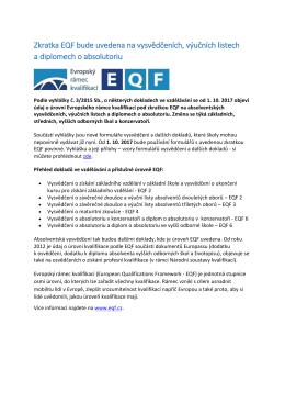 Zkratka EQF bude uvedena na vysvědčeních, výučních listech a