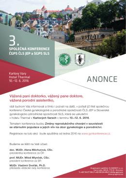 ANONCE - II. spoločná konferencia SGPS SLS a ČGPS ČLS JEP