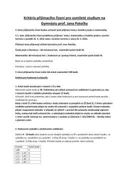 Kritéria přijímacího řízení pro osmileté studium na GPJP
