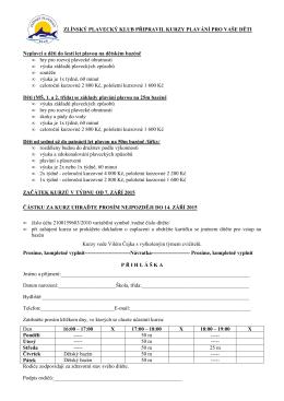 Přihláška do přípravky na 1. pololetí školního roku 2015