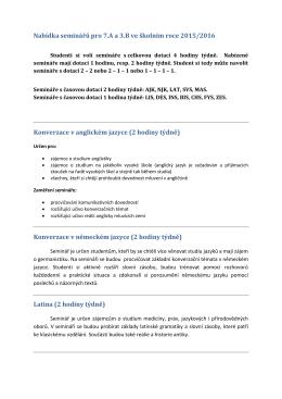 Nabídka seminářů pro 7.A a 3.B ve školním roce 2015/2016