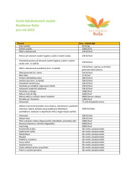 Ceník fakultativních služeb Rezidence RoSa pro rok 2015