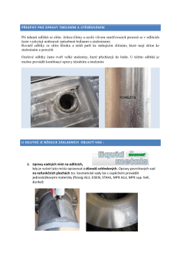 předpisy pro opravy tmelením a utěsňováním