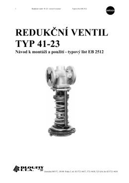 REDUKČNÍ VENTIL TYP 41-23