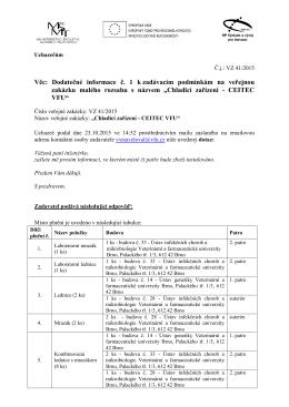 Dodatečné informace č. 1 - Veterinární a farmaceutická