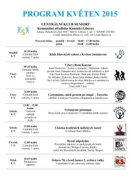 Program KSK na květen 2015 - Komunitní středisko Kontakt Liberec po
