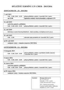 Důležité termíny pro U3V Cheb - 2015/2016