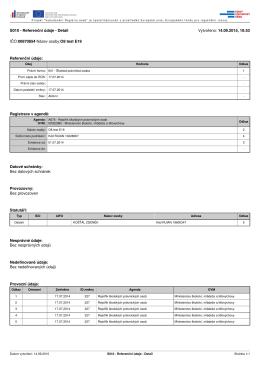 S010 - Referenční údaje - Detail Vytvořeno: 14.09.2015, 10:53 IČO