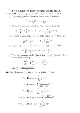 IV.7 Taylorovy řady elementárních funkcí