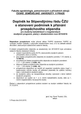 Doplněk ke Stipendijnímu řádu ČZU o stanovení