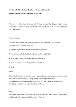 Zápis školské rady z 1. 6. 2015 - Základní škola Jindřichův Hradec
