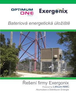 Bateriová energetická úložiště Řešení firmy Exergonix