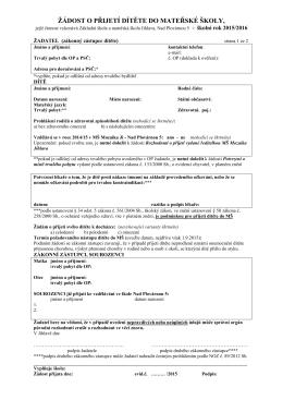 formulář žádosti o přijetí dítěte do MŠ