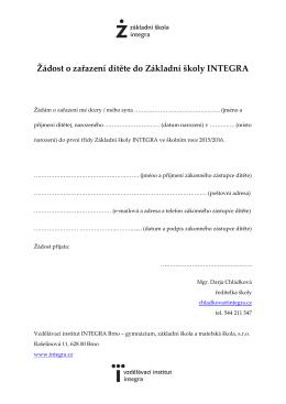Žádost o zařazení dítěte do Základní školy INTEGRA