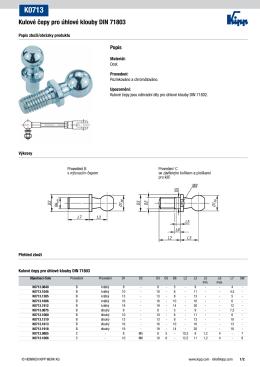 Datový list K0713 Kulové čepy pro úhlové klouby DIN 71803