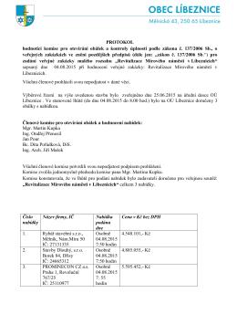 PROTOKOL komise pro otevírání obálek