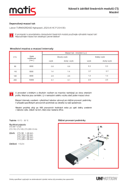 Návod k údržbě lineárních modulů CTJ Mazání