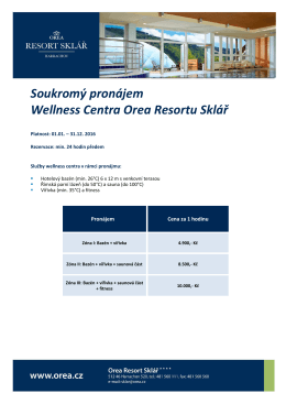 Soukromý pronájem Wellness Centra Orea Resortu Sklář