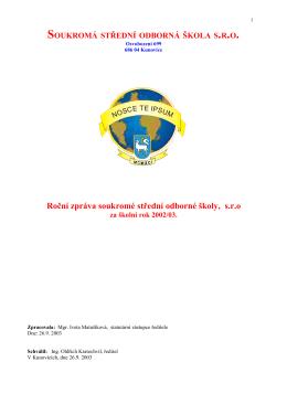 Vyroční zprává za rok 2002/2003